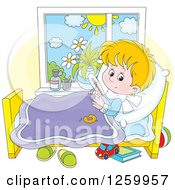 Clipart Of A Sick Blond Boy With A Thermometer Under His Arm In Bed Royalty Free Vector Illustration by Alex Bannykh