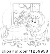 Clipart Of A Black And White Sick Boy With A Thermometer Under His Arm In Bed Royalty Free Vector Illustration by Alex Bannykh