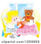 Clipart Of A Cat By A Blond White Girl Reading In Bed While Recovering From An Injury Royalty Free Vector Illustration by Alex Bannykh