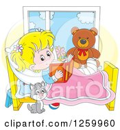 Clipart Of A Cat By A Blond Caucasian Girl Reading In Bed While Recovering From An Injury Royalty Free Vector Illustration