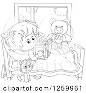 Clipart Of A Black And White Cat By A Girl Reading In Bed While Recovering From An Injury Royalty Free Vector Illustration by Alex Bannykh