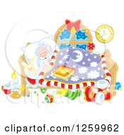 Clipart Of Santa Sleeping In Bed Royalty Free Vector Illustration