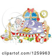 Clipart Of Santa Claus Sleeping In Bed Royalty Free Vector Illustration