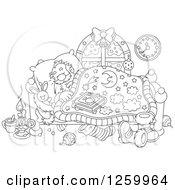 Clipart Of Black And White Santa Sleeping In Bed Royalty Free Vector Illustration