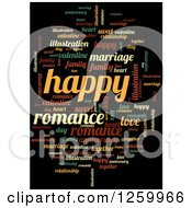 Clipart Of A Romance And Happy Word Collage On Black Royalty Free Illustration by oboy