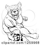 Black And White Muscular Wolf Man Punching