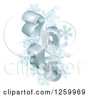Clipart Of A 3d Year 2015 With Snowflakes Royalty Free Vector Illustration