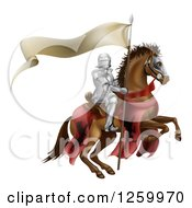 Clipart Of A 3d Armoured Knight On A Steed With A Ribbon Banner Flag Royalty Free Vector Illustration by AtStockIllustration