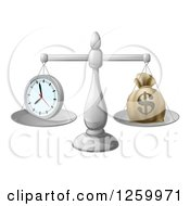 Clipart Of 3d Silver Scales Balancing A Clock And Money Bag Royalty Free Vector Illustration by AtStockIllustration