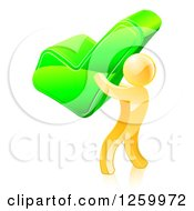 Clipart Of A 3d Gold Man Carrying A Giant Green Check Mark Royalty Free Vector Illustration