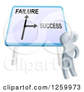 Clipart Of A 3d Silver Man Looking Up At A Failure Or Success Directional Sign Royalty Free Vector Illustration
