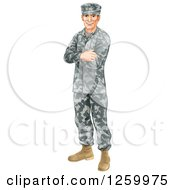 Clipart Of A Caucasian Male Soldier In Camouflage Standing With Folded Arms Royalty Free Vector Illustration by AtStockIllustration