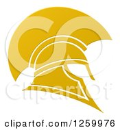 Clipart Of A Golden Spartan Trojan Helmet Royalty Free Vector Illustration by AtStockIllustration