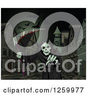 Clipart Of A Grim Reaper Holding A Bloody Scythe And Reaching Out In A Town Center Royalty Free Vector Illustration by Pushkin