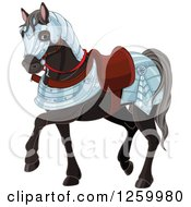 Clipart Of A Cute Black War Horse In Armour Royalty Free Vector Illustration