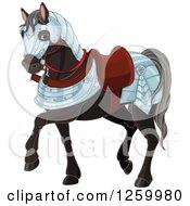 Cute Black War Horse In Armour