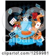 Clipart Of A Hat Over Playing Cards Gears Alice In Wonderland Potions A Clock And Banner On Black Royalty Free Vector Illustration by Pushkin