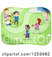 Clipart Of Happy Children Playing Baseball In A Yard Royalty Free Vector Illustration