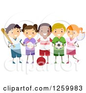 Clipart Of Happy Children With Sports Equipment Royalty Free Vector Illustration