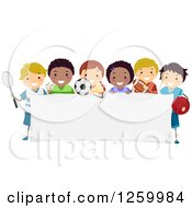 Clipart Of Happy Sporty Children Around A Sign Royalty Free Vector Illustration by BNP Design Studio
