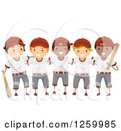 Clipart Of A Group Of Happy Boys On A Baseball Team Royalty Free Vector Illustration