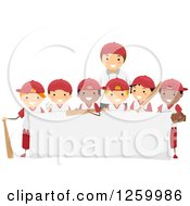 Clipart Of A Group Of Happy Boys And A Coach On A Baseball Team Over A Sign Royalty Free Vector Illustration by BNP Design Studio