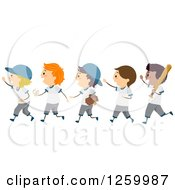 Clipart Of Happy Boys Walking With Baseball Equipment Royalty Free Vector Illustration