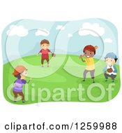 Clipart Of A Team Of Happy Boys Playing Baseball In A Park Royalty Free Vector Illustration