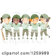 Clipart Of Happy Girls In Green Baseball Uniforms Royalty Free Vector Illustration