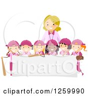 Clipart Of Happy Baseball Girls And A Coach Over A Sign Royalty Free Vector Illustration