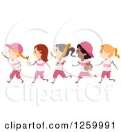 Clipart Of Happy Softball Girls Running In Pink Baseball Uniforms Royalty Free Vector Illustration