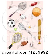 Clipart Of Sports Rackets Balls And Accessories Over Pink Royalty Free Vector Illustration