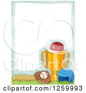 Clipart Of A Border With A Sports Trophy And Baseball Equipment Royalty Free Vector Illustration