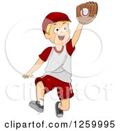 Clipart Of A Blond Caucasian Boy Catching A Baseball Royalty Free Vector Illustration