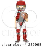 Clipart Of A Caucasian Boy Baseball Catcher Royalty Free Vector Illustration