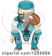 Clipart Of A Caucasian Boy Baseball Catcher Crouching Royalty Free Vector Illustration by BNP Design Studio