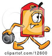 Clipart Picture Of A Price Tag Mascot Cartoon Character Holding A Bowling Ball