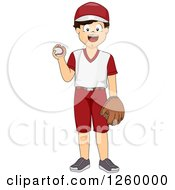 Clipart Of A Boy Baseball Pitcher Royalty Free Vector Illustration