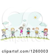 Clipart Of Sketched Stick Kids With Sports Equipment Royalty Free Vector Illustration by BNP Design Studio