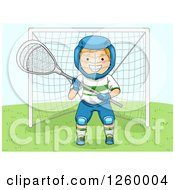 Clipart Of A Caucasian Boy Lacrosse Goalie Royalty Free Vector Illustration by BNP Design Studio