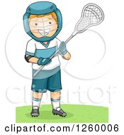 Clipart Of A Caucasian Boy Holding A Lacrosse Stick Royalty Free Vector Illustration