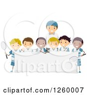 Clipart Of A Coach And Group Of Happy Tennis Team Boys Over A Blank Sign Royalty Free Vector Illustration by BNP Design Studio