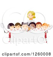 Clipart Of Happy Tennis Girls And A Coach Over A Sign Royalty Free Vector Illustration by BNP Design Studio