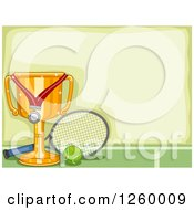Clipart Of A Border With A Sports Trophy And Tennis Equipment Royalty Free Vector Illustration by BNP Design Studio