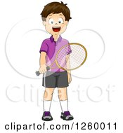 Clipart Of A Brunette Caucasian Boy Holding A Tennis Racket Royalty Free Vector Illustration by BNP Design Studio