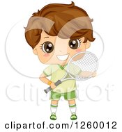 Clipart Of A Brunette White Boy Holding A Tennis Racket Royalty Free Vector Illustration