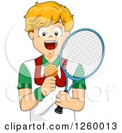 Caucasian Boy Holding A Tennis Racket And Showing His Medal