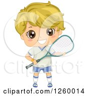 Clipart Of A Blond Caucasian Boy Holding A Squash Racket Royalty Free Vector Illustration