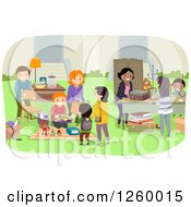 Clipart Of Happy People At A Neighborhood Yard Sale Royalty Free Vector Illustration by BNP Design Studio