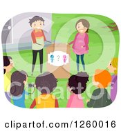 Poster, Art Print Of Couple Announcing The Gender Of Their Baby To Their Friends And Family